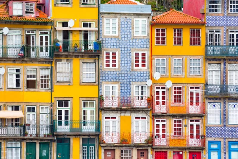 Tiled building facades in Porto