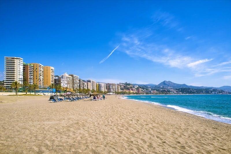 Malaga's sandy city beach