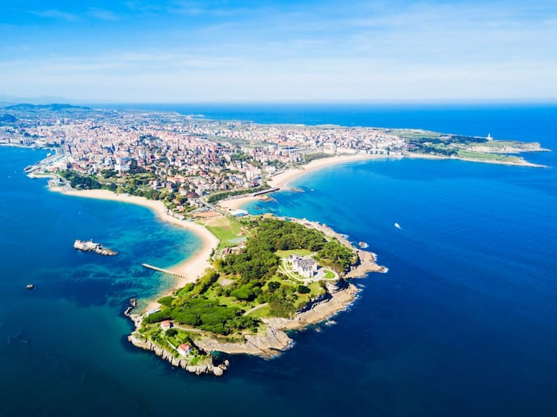 Aerial view of Santander and its beaches