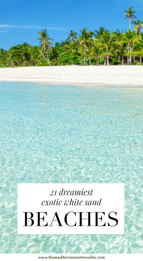 Sandy Cebu beach with text overlay '21 Dreamiest Exotic White Sand Beaches'