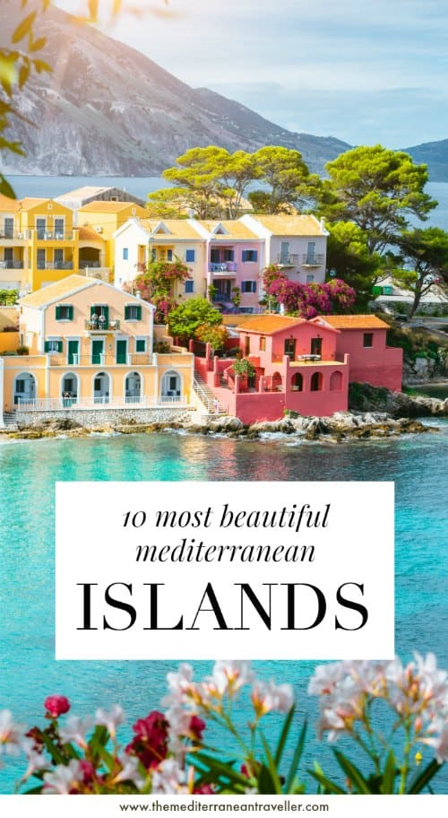 Pretty Kefalonia with text overlay '10 Most Beautiful Mediterranean Islands'