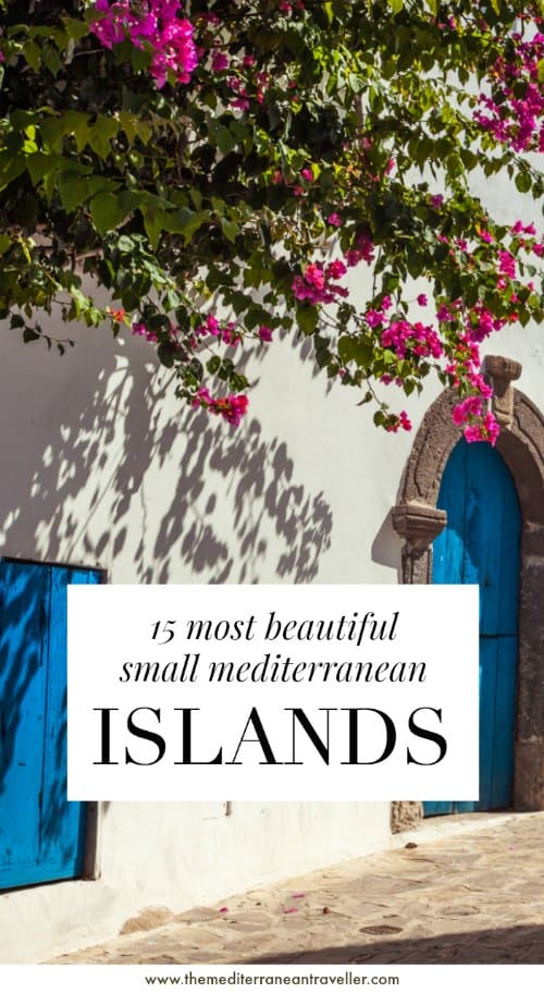 Panarea buildings with text overlay '15 most beautiful small Mediterranean islands'