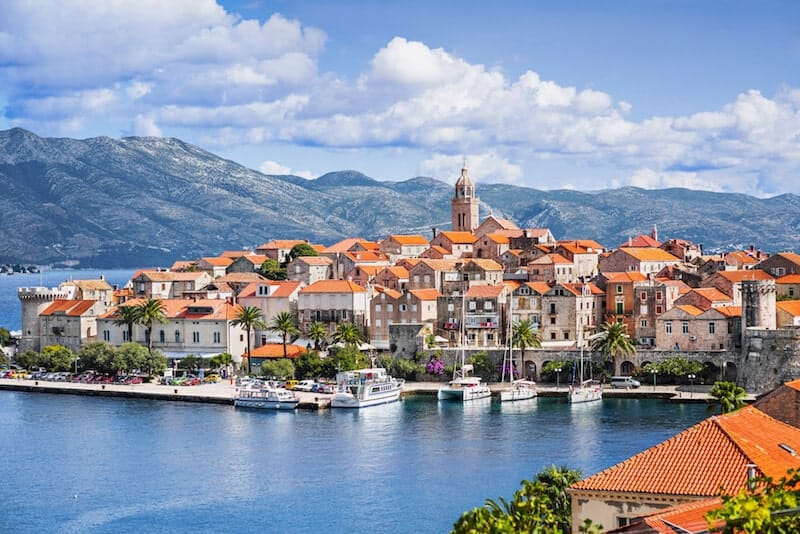 red tiled roofs of Korcula Town