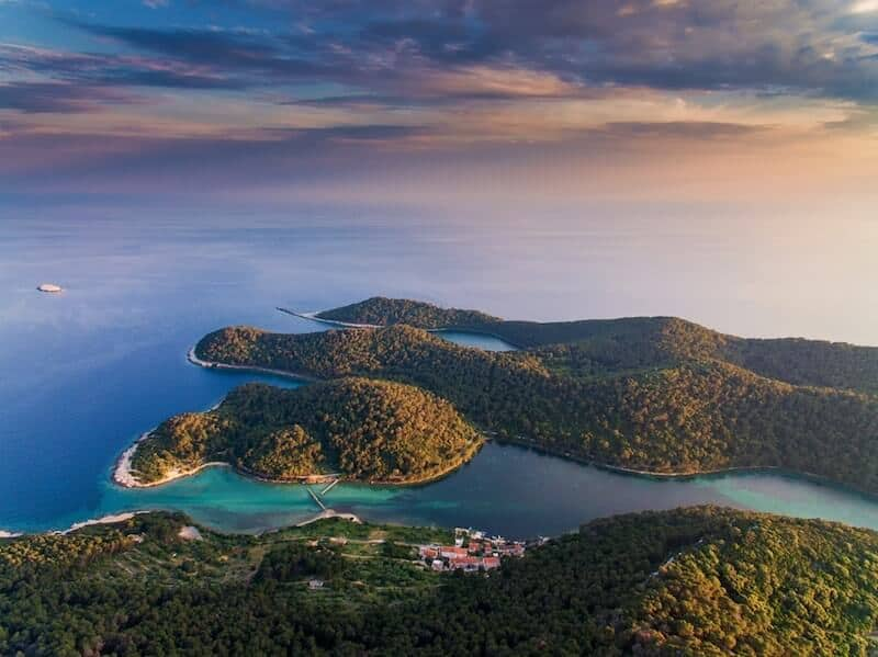 Mljet's tree-covered bays from above