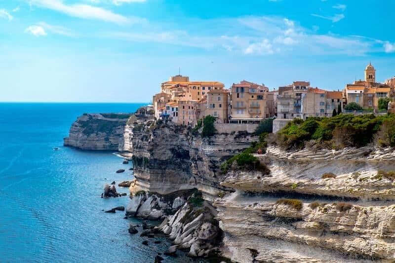 clifftop houses in Bonifacio, Corsica