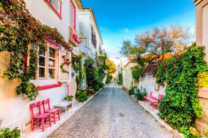pretty foliage-lined street in Bozcaada