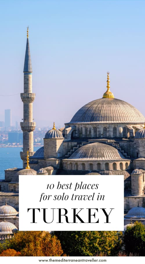 Blue Mosque, Istanbul, with text overlay '10 Best Places for Solo Travel in Turkey'