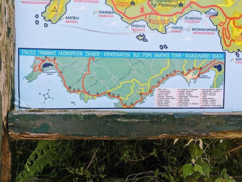 Skiathos buss route map