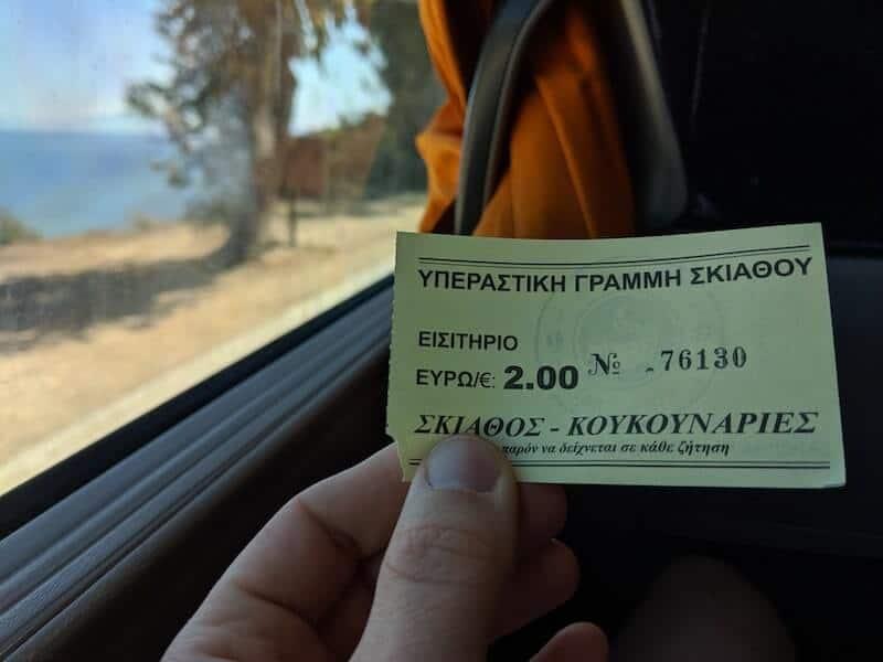 Skiathos bus ticket to Koukounaries