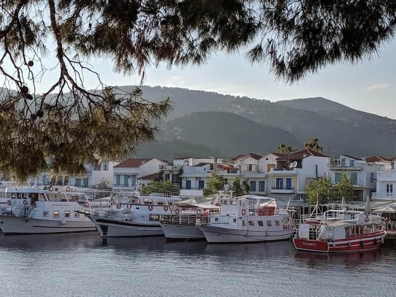 Skiathos Town old port at dusk
