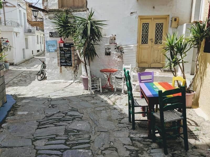 rainbow painted table in Skiathos Town backstreet