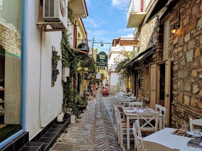 backstreet in Skiathos Town lined with tavernas