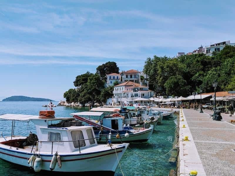 small boats in Skiathos' old port