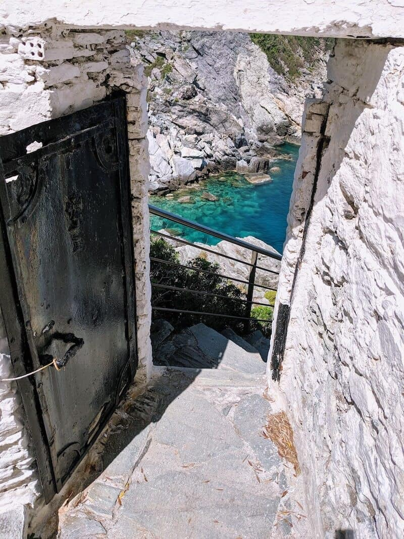 View through the doorway at Mamma Mia! chapel on Skopelos
