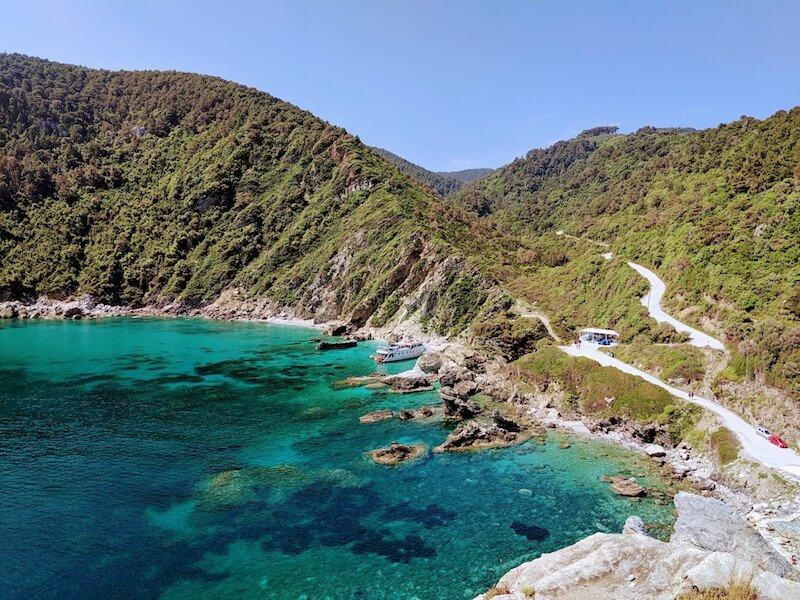 scenery around Agios Ioannis beach on Skopelos