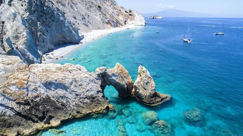 Lalaria beach with its rock formations and turquoise water