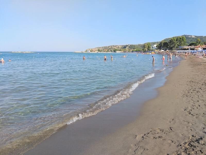dark golden sand of Faliraki beach