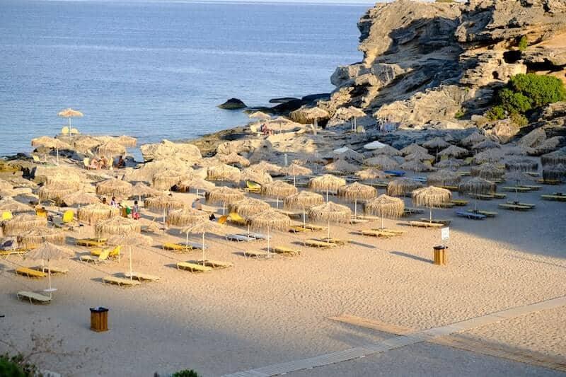 sun loungers on Jordan beach