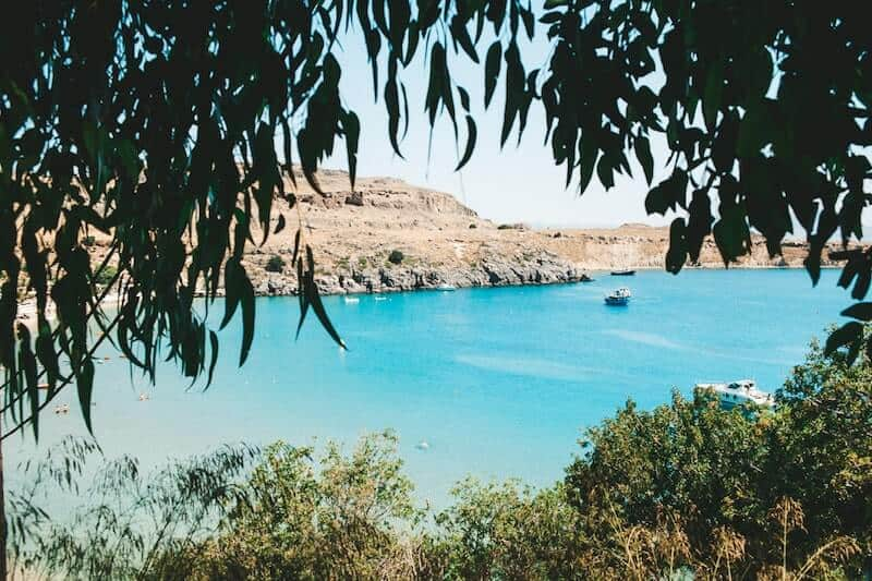 Lindos bay through the trees