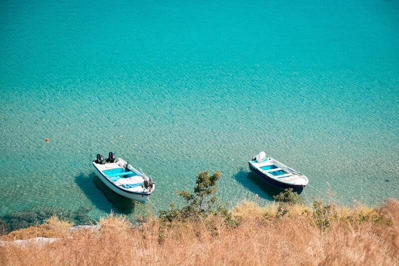 boats moored in Lindos