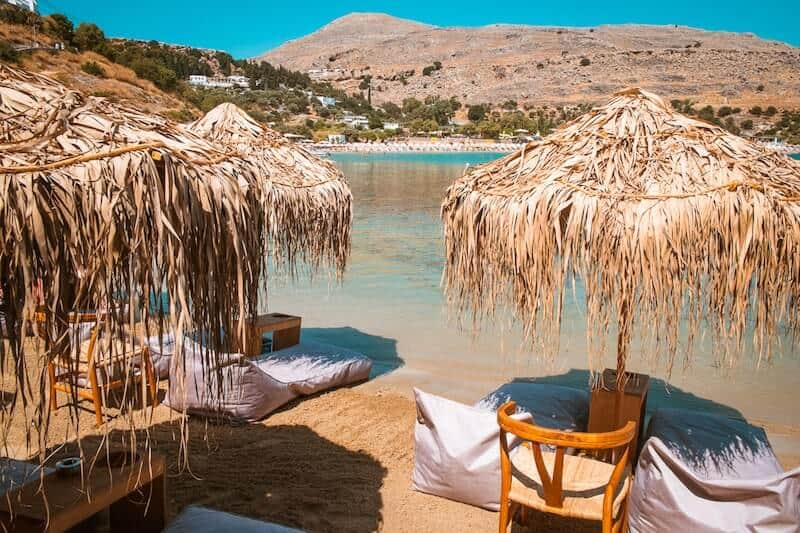 parasols and bean bags on Lindos beach