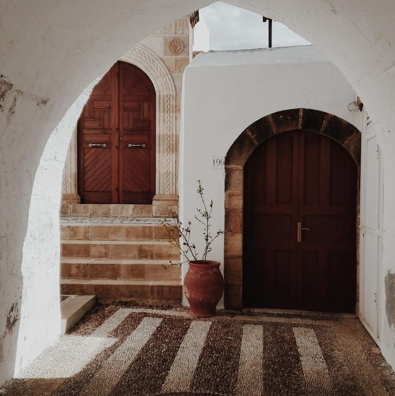 beautiful entranceway in Lindos old town