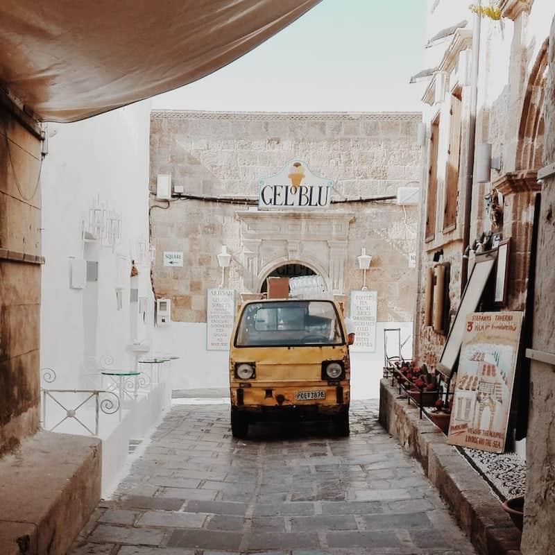 small van in narrow Lindos street