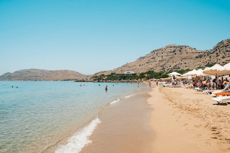 golden sand of Pefkos beach