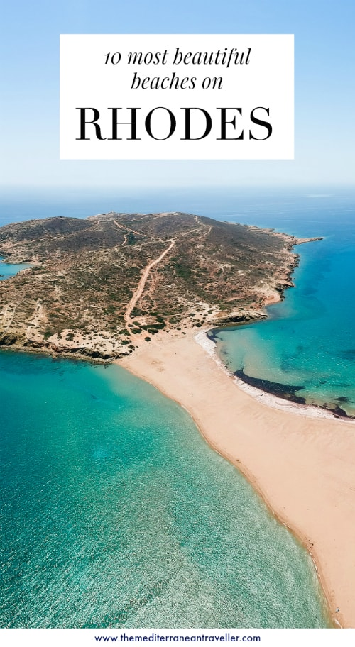 Prasonisi with text overlay '10 most beautiful beaches on Rhodes'
