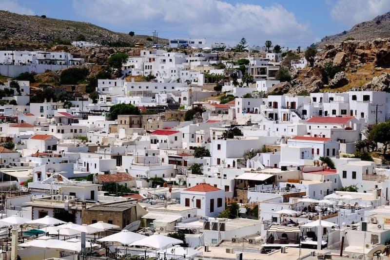 whitewashed Lindos village