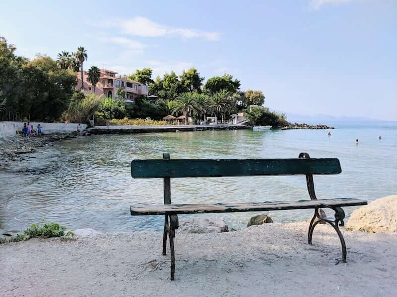 bench by the sea in Ammoudi