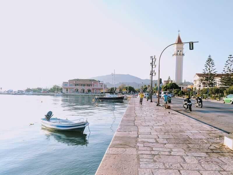 Zakynthos Town promenade in early morning