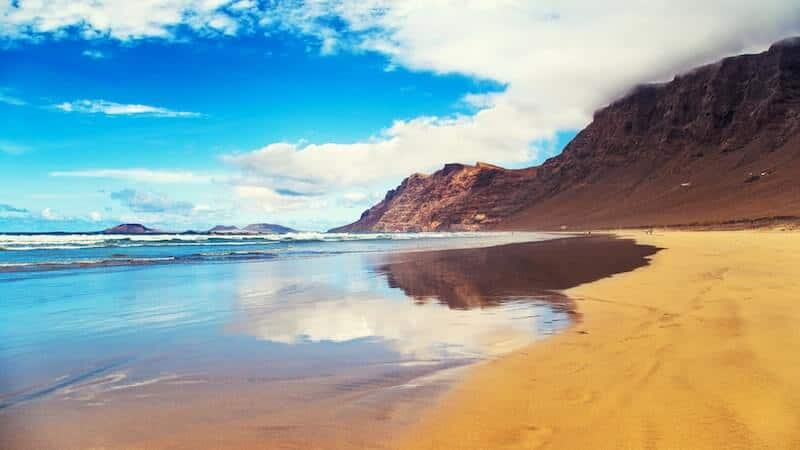 Famara beach and cliffs on Lanzarote