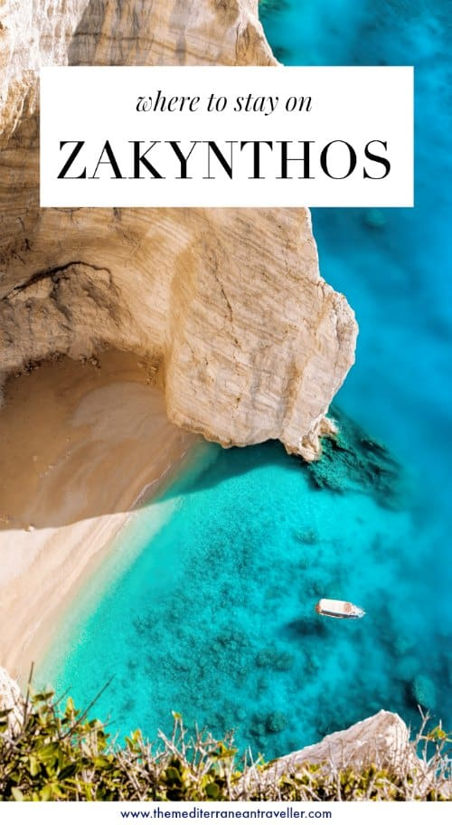 Zakynthos cliffs with text overlay 'where to stay on Zakynthos'
