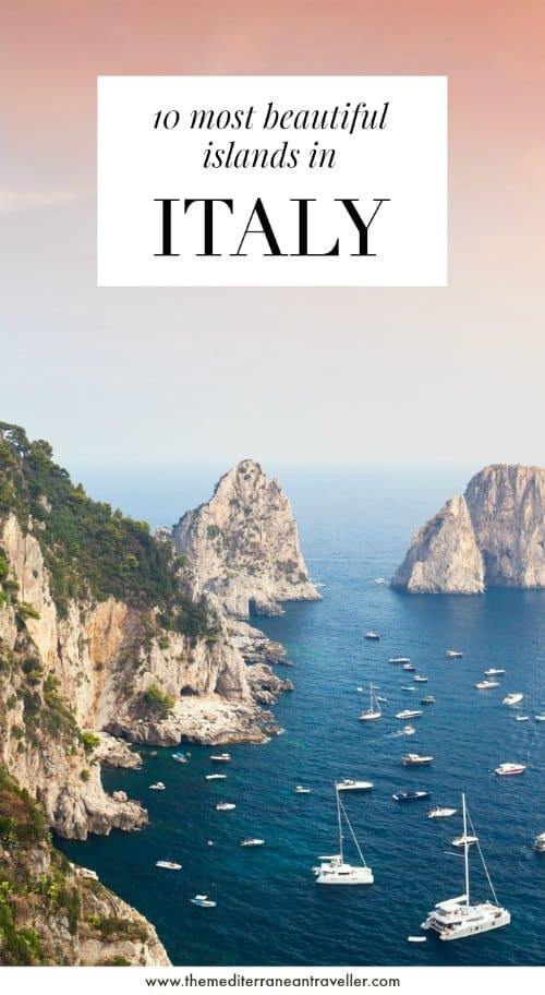 Capri with text overlay '10 most beautiful islands in Italy'