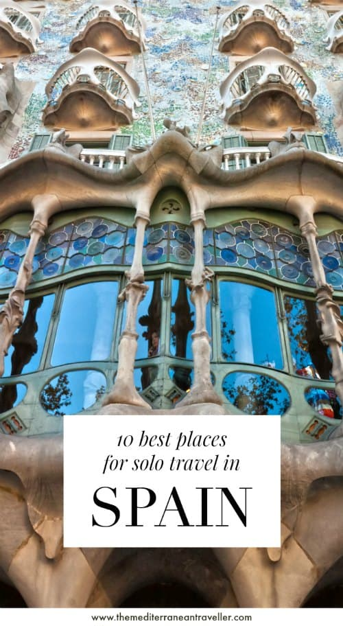 Casa Batllo facade in Barcelona with text overlay '10 best places for solo travel in Spain'
