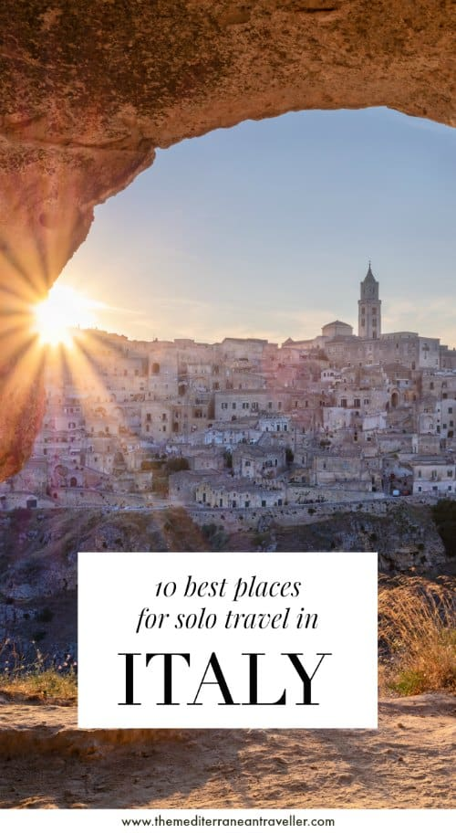 sunset over Matera with text overlay '10 best places for solo travel in Italy'