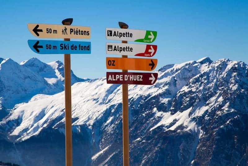 Snow-covered Alps with signposts