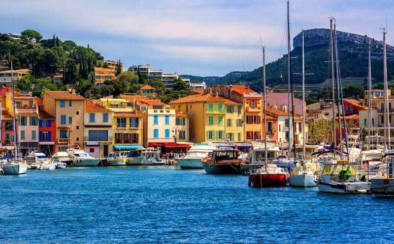 Colourful Cassis harbour with yachts
