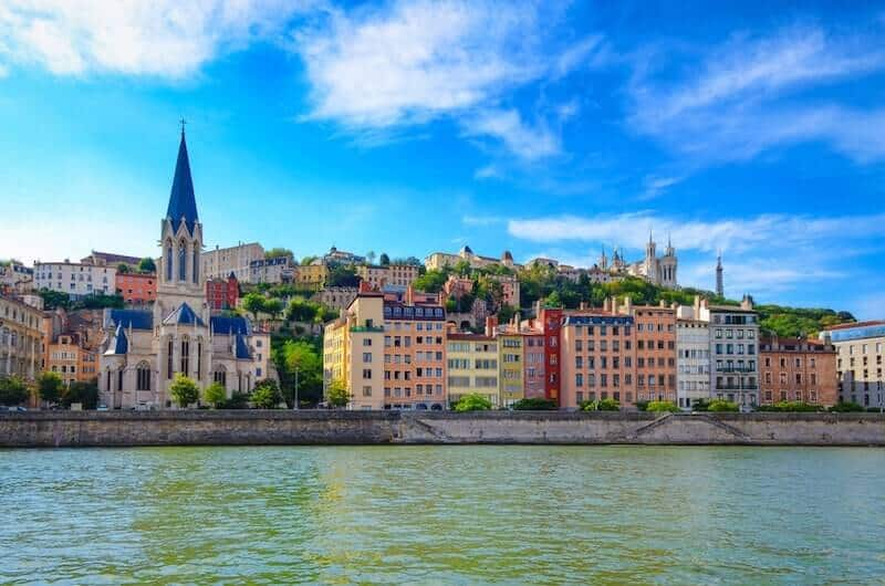 Colourful buildings on the riverfront in Lyon