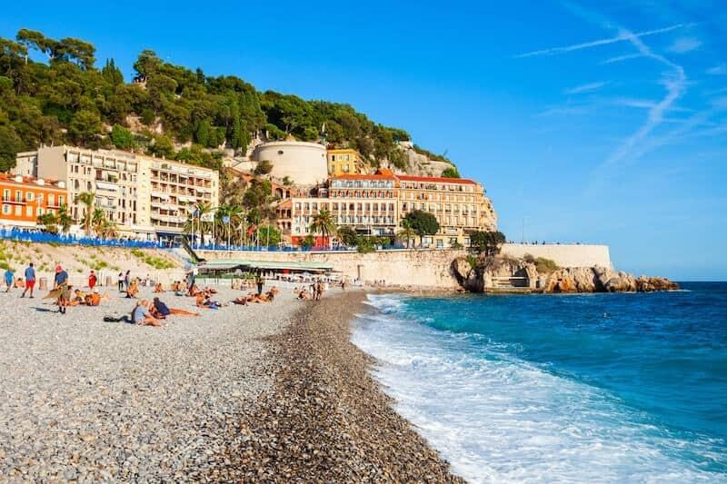 Waves on Nice's pebbly beach