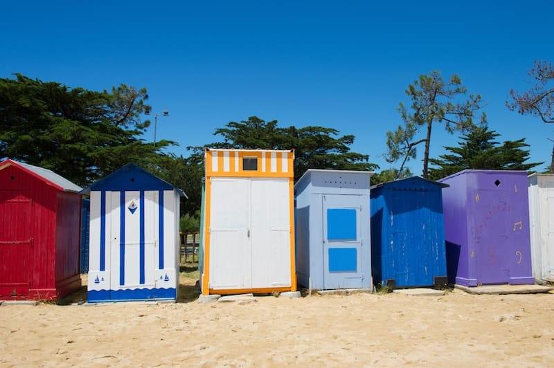 colourful beach huts on Oleron