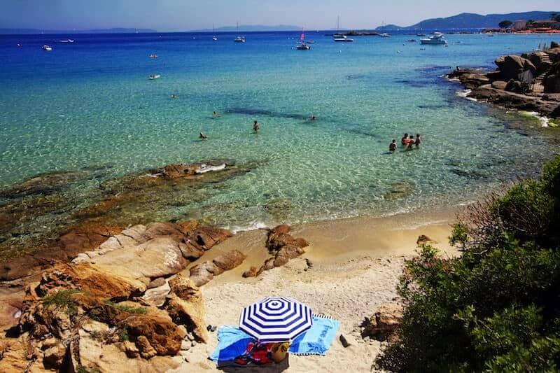 parasol on a Port Cros beach