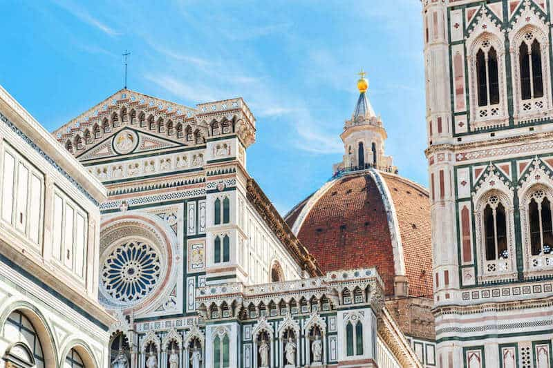 ornate facades and rooftops in Florence