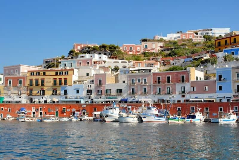 Ponza's red and pink harbour houses