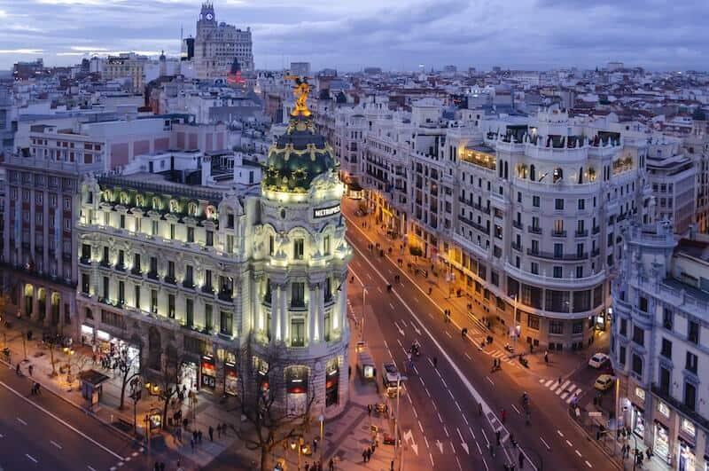Madrid's Gran Via lit up at night