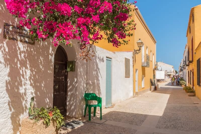 pretty street with bougainvillea on Tabarca